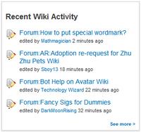 Recent wiki activity sample 1
