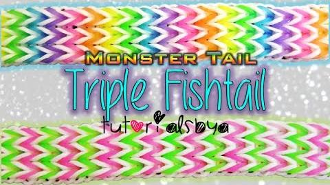 NEW Triple Fishtail MONSTER TAIL Rainbow Loom Bracelet Tutorial How To-0