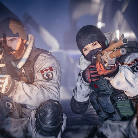 Buck (left) wielding a <a href=