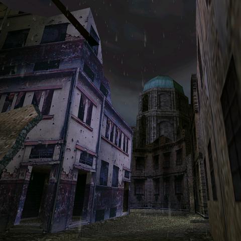 Djakovica city in ruins