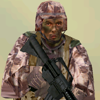 ---Desert Medium Suit--- <br />This uniform is provides a good blend of protection and ease of movement. An excellent uniform choice for recon specialists operating in desert environments, it consists of a lightweight Level II waist-length tactical vest, a Kevlar Helmet, soft-soled rubber boots, and Nomex/Kevlar gloves. The vest reliably stops most pistol and submachine gun rounds.