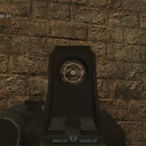 A player character aiming down the unique reflex scope of the P90. This P90 has a laser sight to the left of the scope.