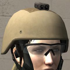 Yacoby wearing Kevlar helmet