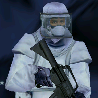 ---Arctic Heavy Suit--- <br />This bulky uniform sacrifices ease of movement for increased protection. An excellent choice for demolitions specialists operating in arctic environments, it consists of Level III body armor extending to the groin, sub-zero parka, a Kevlar Helmet with full faceplate, soft-soiled rubber boots, Nomex balaclava, and Nomex/Kevlar gloves. The vest reliably stops all but most high-powered rifle rounds.