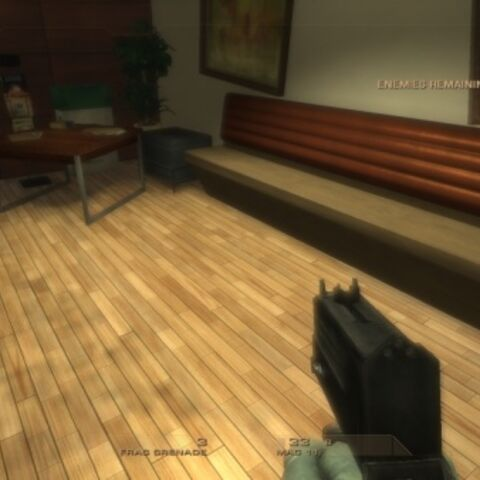 A player character being idle with his MAC 11 in R6V1