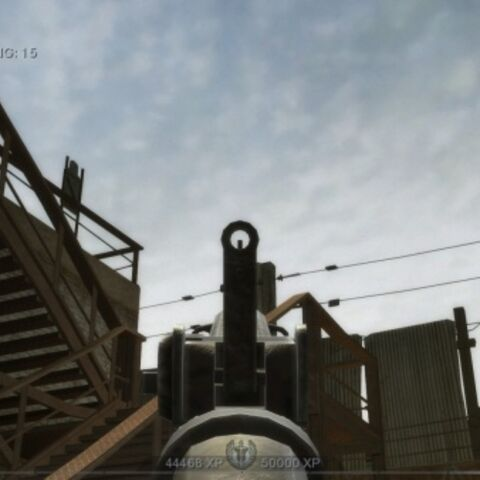 The iron sights of the SCAR-H CQC