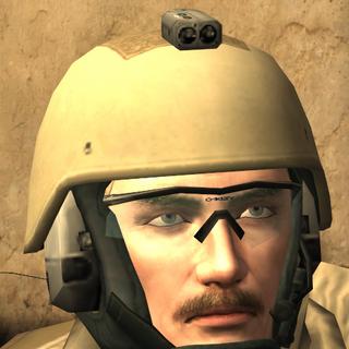 Price wearing Kevlar helmet