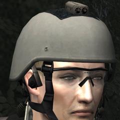 Louis wearing Kevlar helmet