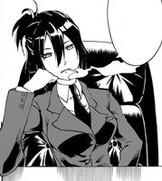 Kurono smoking in her office