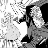Bishou trying to attack the mother and child