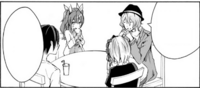 Ikki Stella Nagi, and Shizuku sitting for lunch