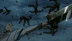 Saijou destroying the golems