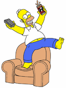 Homer with beer and remote on armchair