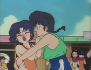 Ranma pretends to swallow pill