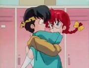 Ranma hugs Ryoga - Assault on Girls' Locker Room