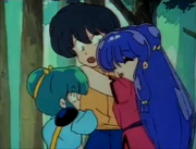 Twins and Shampoo hug Ranma