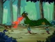 Ranma and Akane run from Fire Dragon