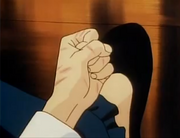 Ranma's hand pinched