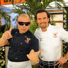 Claudio Yarto cocina junto al chef Oropeza