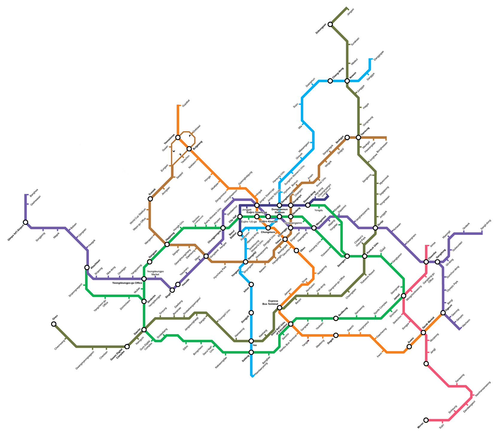 Eoul Subway Map.Seoul Subway Rapid Transit Wiki Fandom Powered By Wikia