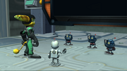Worker bots with Ratchet and Clank