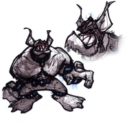 Blargian snagglebeast from R&C (2002) concept art