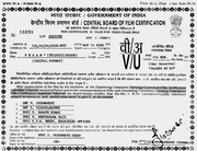 Censor Certificate India
