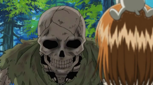 Elie and Plue see a Skeleton