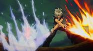 Haru attacks Berial with Blue Crimson