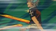 Haru gets hit wih Rock Fist