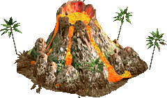 Volcano with small trees
