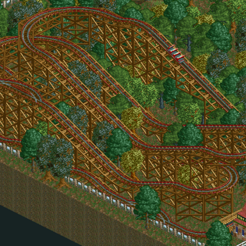 A large Reverser Coaster in RCT2