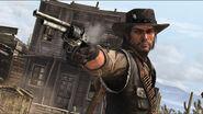 JOHN Marston apuntando con una revolver