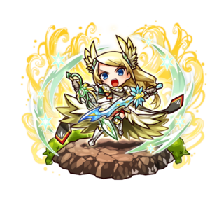 Therese with the title of Brilliant Mercy Righteous Knight after her awakening to the 18 Demon Warlords in the mobile game