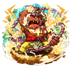 Minokichi as a Giga Minoterios during the Hell Week Festival in the mobile game