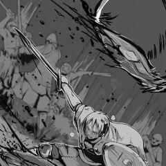 Rubellia fighting against a Goblin attack
