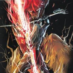 Minokichi killing Mentalis on the Gaiden cover
