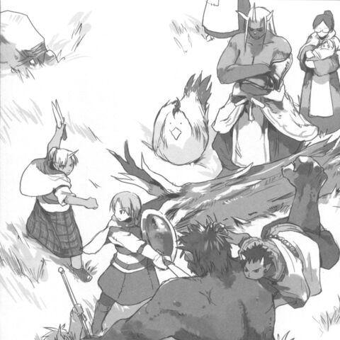 Rou's children and Rubellia training against a Black Ogre