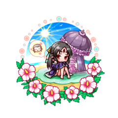 Kugime (Beach Blush) as a Kugionihime in the mobile game
