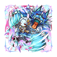 Kanami 【Benevolent Ice Empress】 as an Ice Blood True Vampire along with her Ice Blood Celestial Wolf during the Holy War
