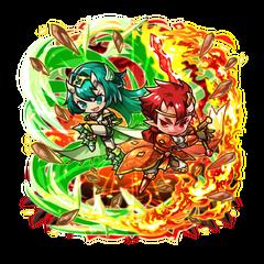 Fuuki & Netsuki battling together on the Holy War