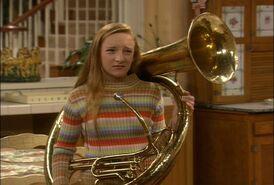 Kyra with a tuba