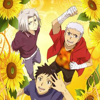 July/August: Yamamoto, Ryohei, and Gokudera with sunflowers.