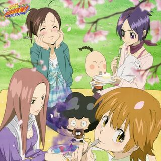 March/April: Chrome, Kyoko, Haru, Bianchi, I-Pin, and Lambo on a sweet hanami.