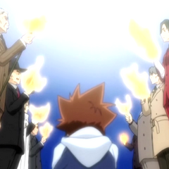 Tsuna's Vongola Trial in the anime.