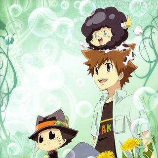 March/April: Tsuna, Reborn, and Lambo with dandelions.