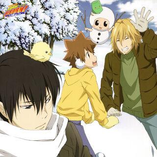 January/February: Hibari, Hibird, Tsuna, Dino, Reborn, and Leon building a snow-Hibird