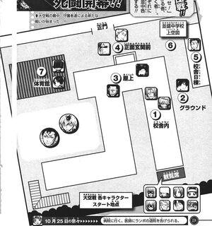 Mapa de la escuela namimori donde se realisarosn la batallas