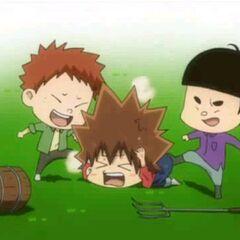 Tsuna getting beaten up by the village kids.