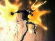Tsuna usa sus llamas como propulsor